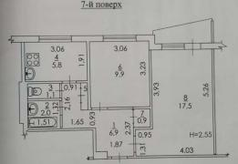 Sell 2 room apartment in 522 m/R apartment in Kharkov